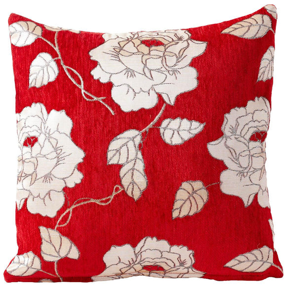 Chenille Rose Filled Cushion Red