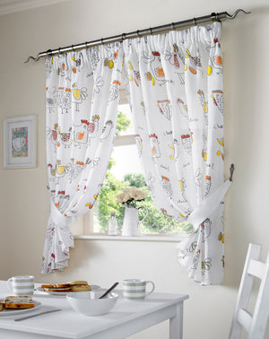 Chickens Kitchen Curtains Red