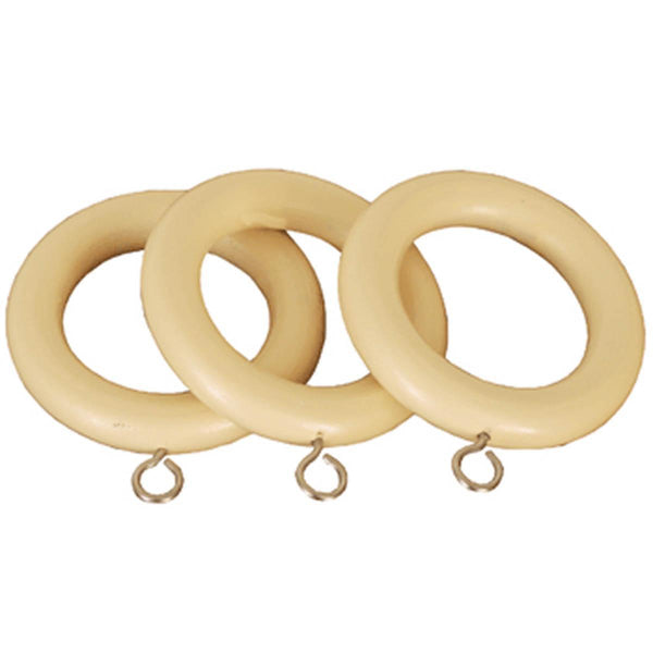 County 28mm Wooden Curtain Rings Cream