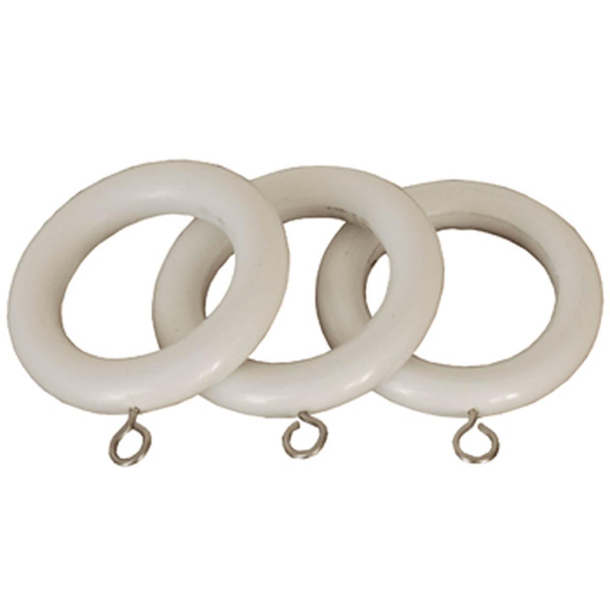 Speedy Curtain Poles County 28mm Wooden Curtain Rings White Picture