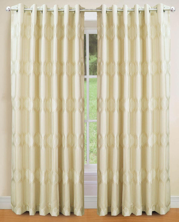 Deco Ready Made Eyelet Curtains Cream