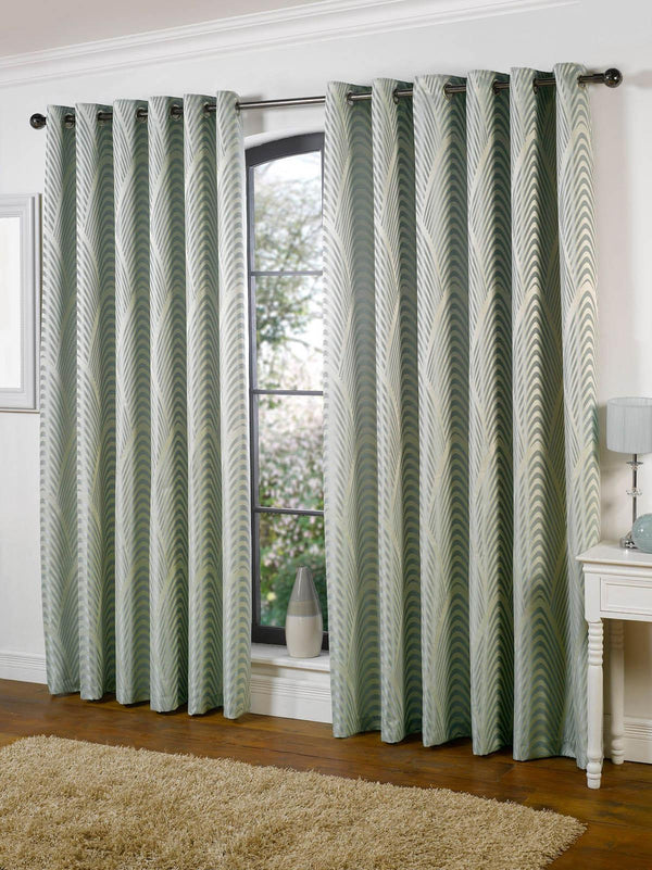 Dakota Lined Eyelet Ready Made Curtains Duck Egg