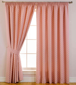 Dotty Ready Made Blackout Curtains Rose