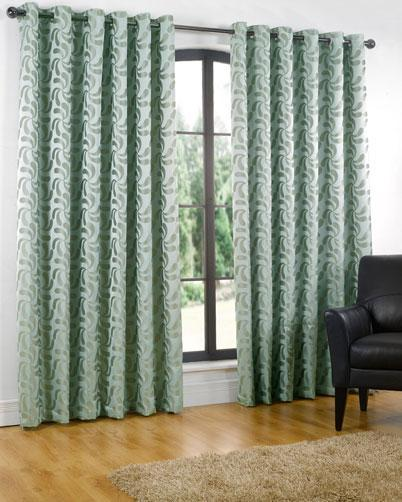 Erin Lined Eyelet Ready Made Curtains Duck Egg
