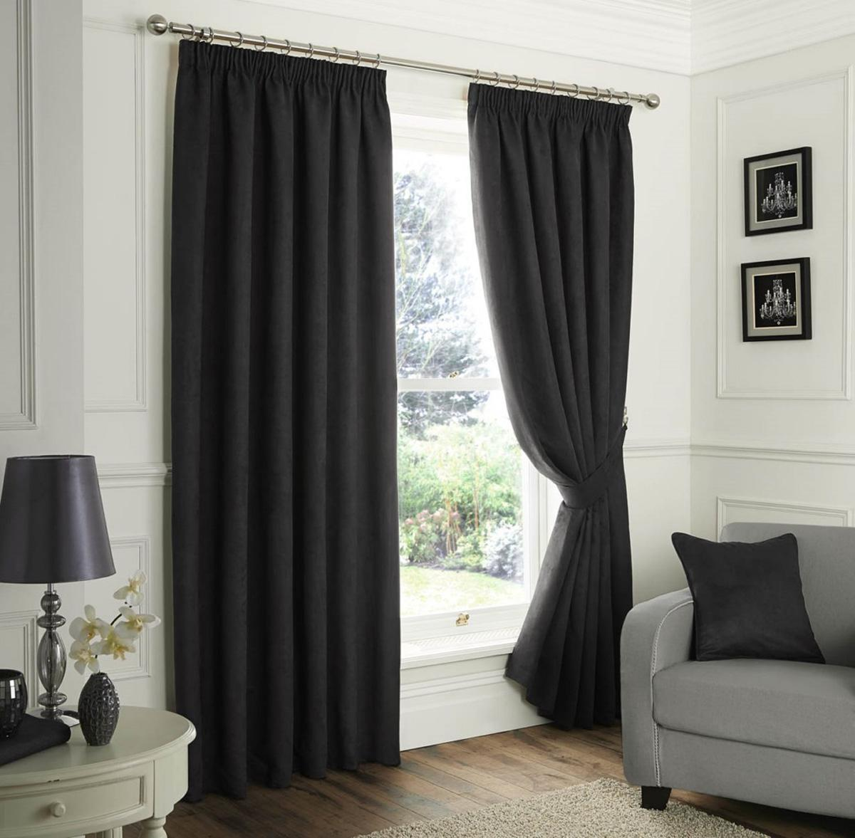J Rosenthal Ready Made Curtains Faux Suede Ready Made Lined Curtains Black Picture