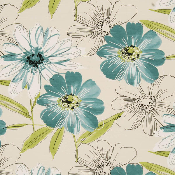 Isabella Floral Curtain Fabric Teal