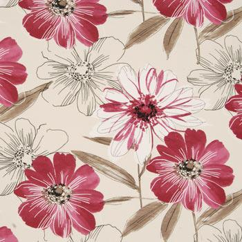 Isabella Floral Curtain Fabric Raspberry