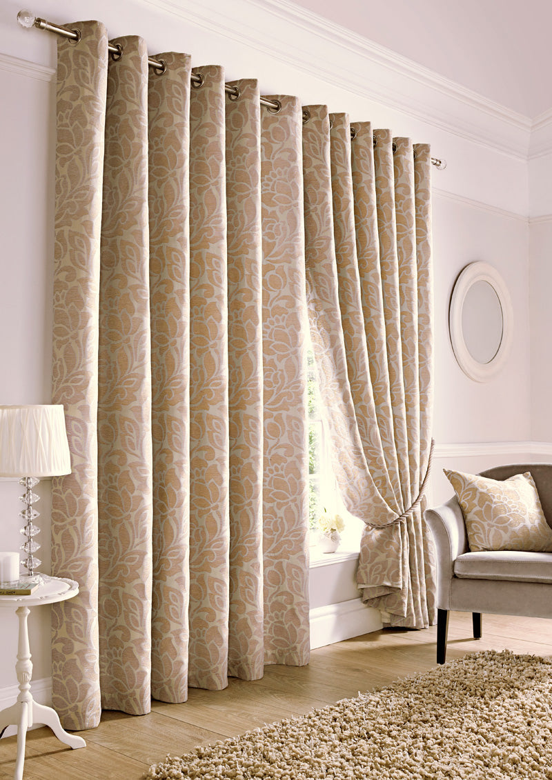 Alan Symonds Ready Made Curtains Kew Ready Made Lined Eyelet Curtains Beige Picture