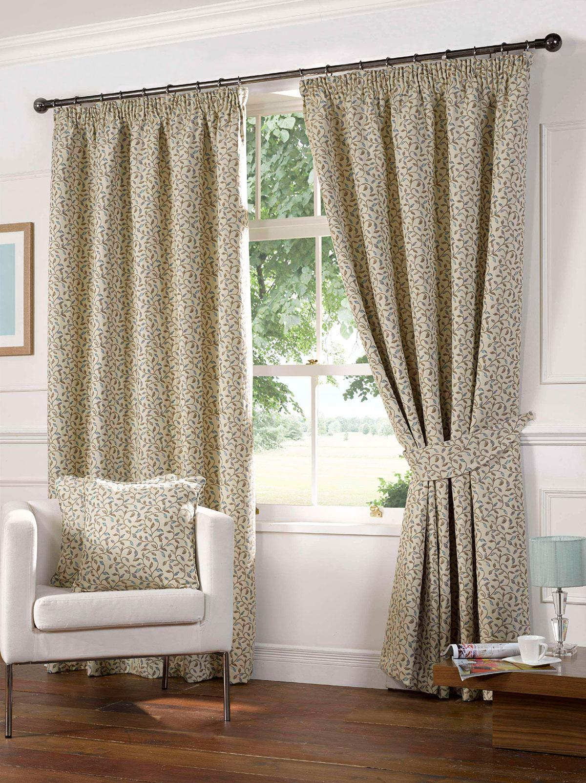 Gordon John Ready Made Curtains Laurel Ready Made Lined Curtains Blue Picture