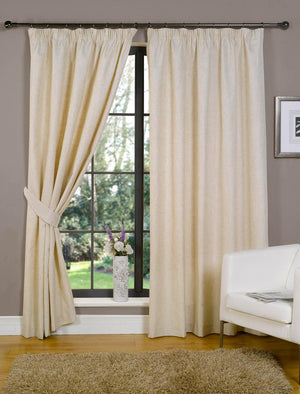 Linen Look Lined Curtains Natural