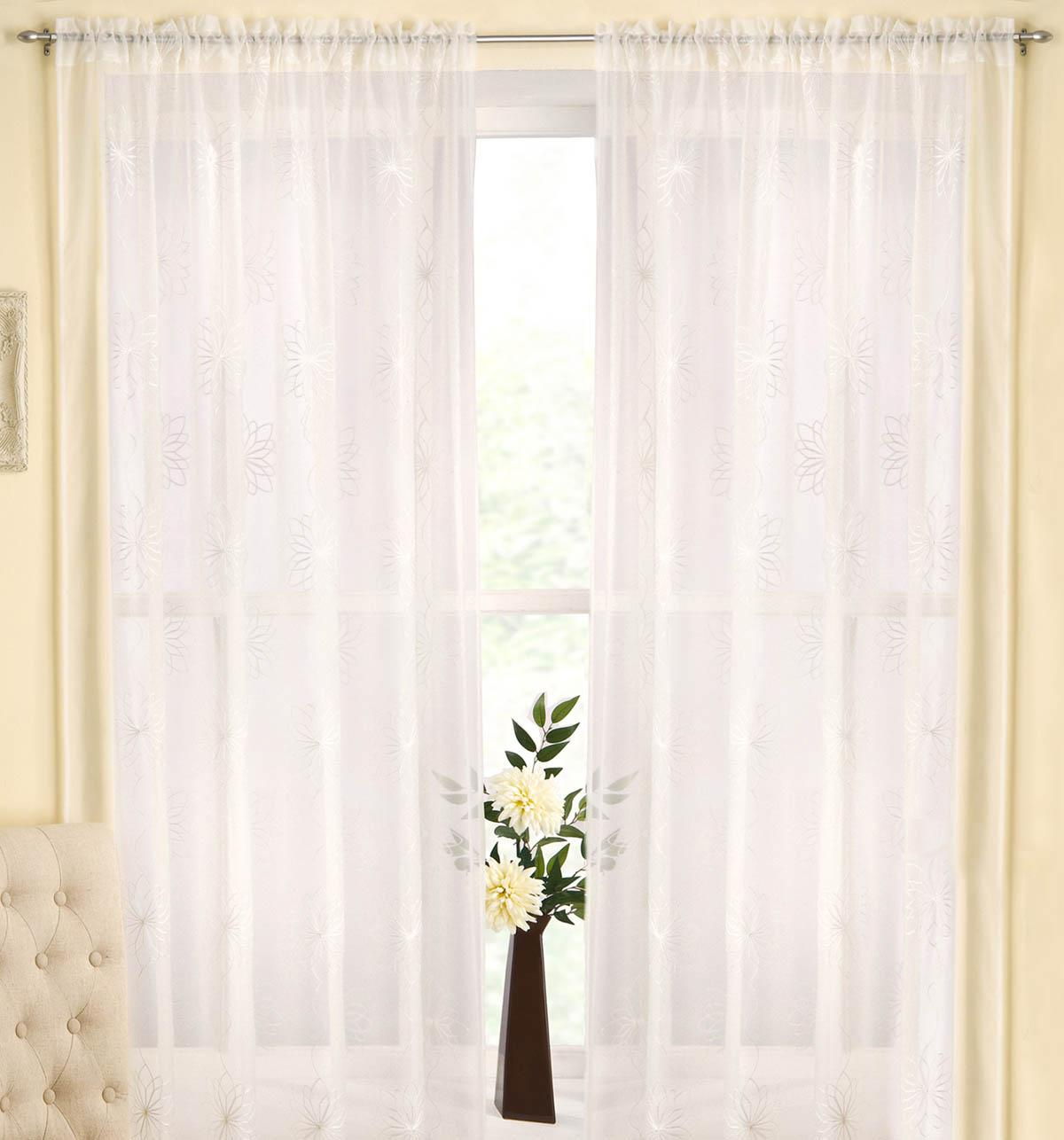 Tyrone Ready Made Curtains Malaga Rod Pocket Voile Panel Cream Picture