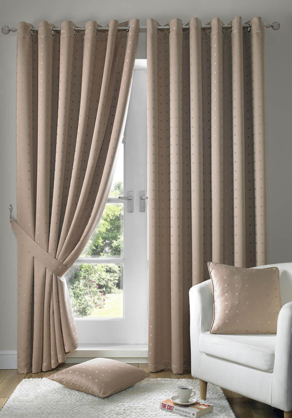 Madison Ready Made Lined Eyelet Curtains Latte