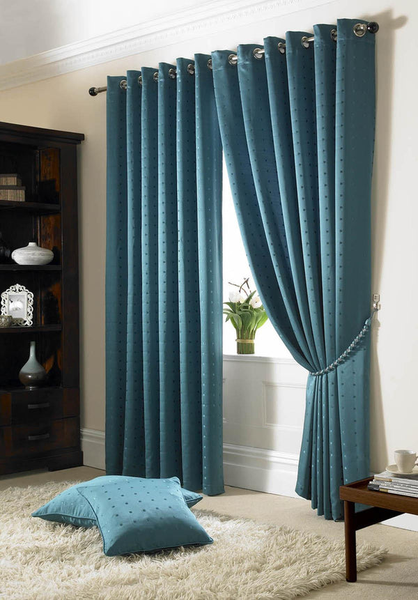 Madison Ready Made Lined Eyelet Curtains Teal