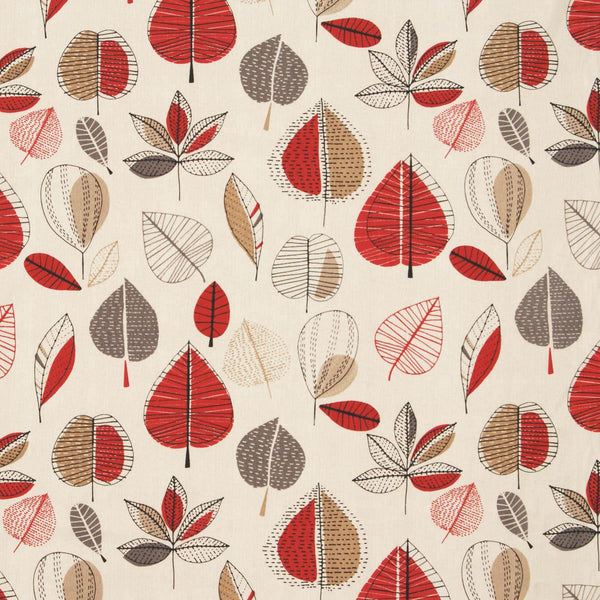 Maple Curtain Fabric Red Berry
