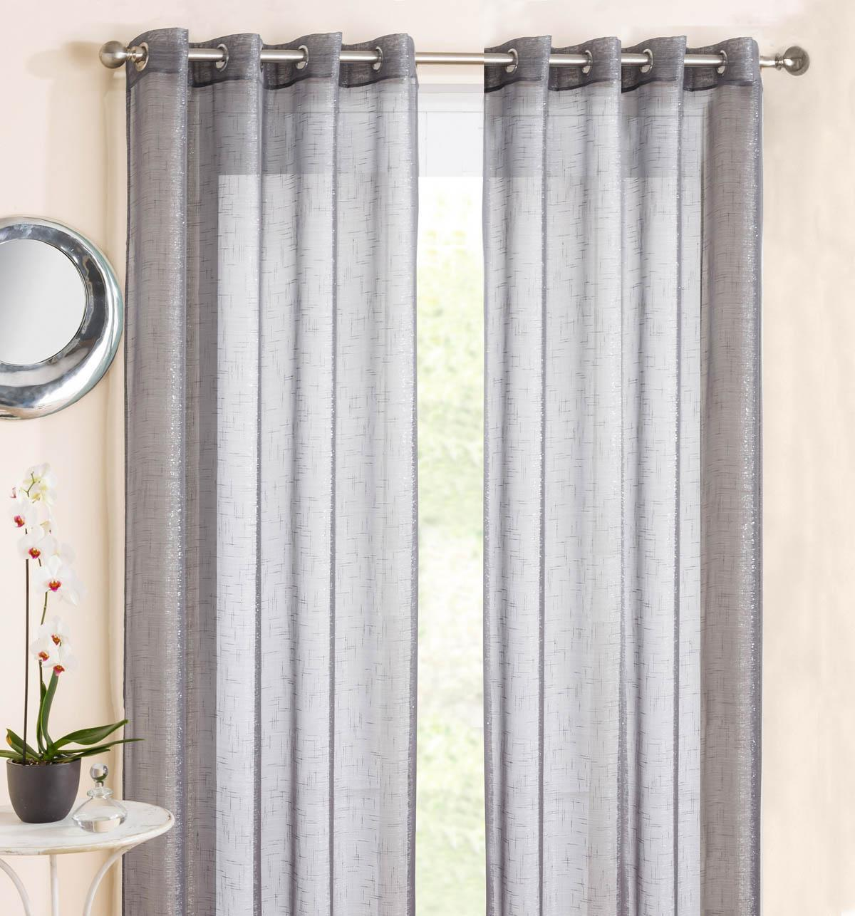Tyrone Ready Made Curtains Marrakesh Eyelet Voile Panel Grey