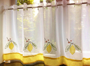 Lemons Cafe Curtain Panel White/Yellow