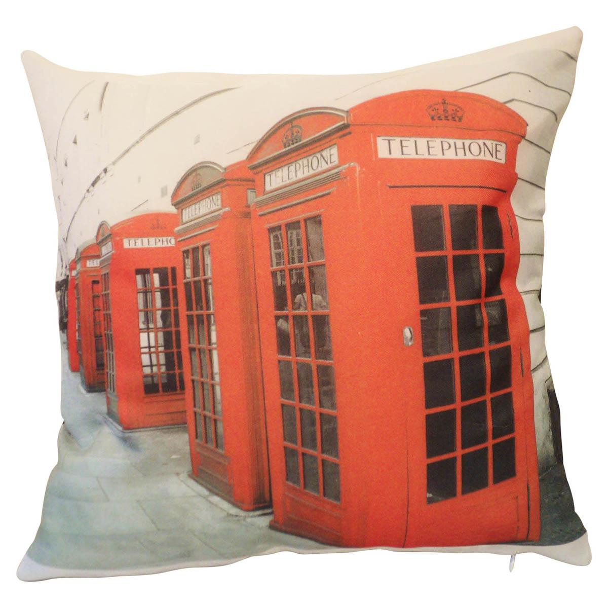 Alan Symonds Cushions And Throws Telephone Boxes Filled Cushion Multi Picture