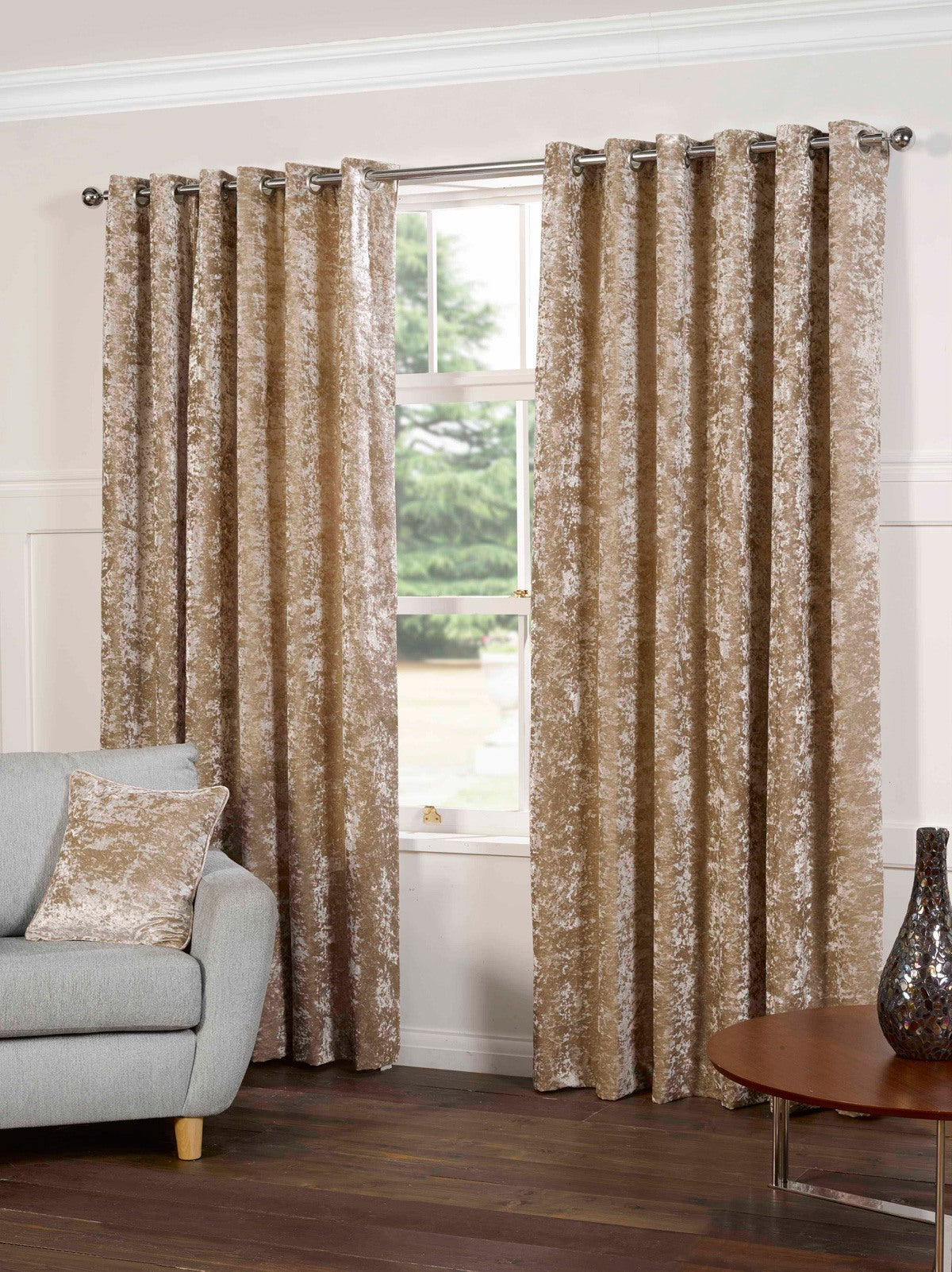Gordon John Ready Made Curtains Plush Ready Made Lined Eyelet Curtains Silk Picture