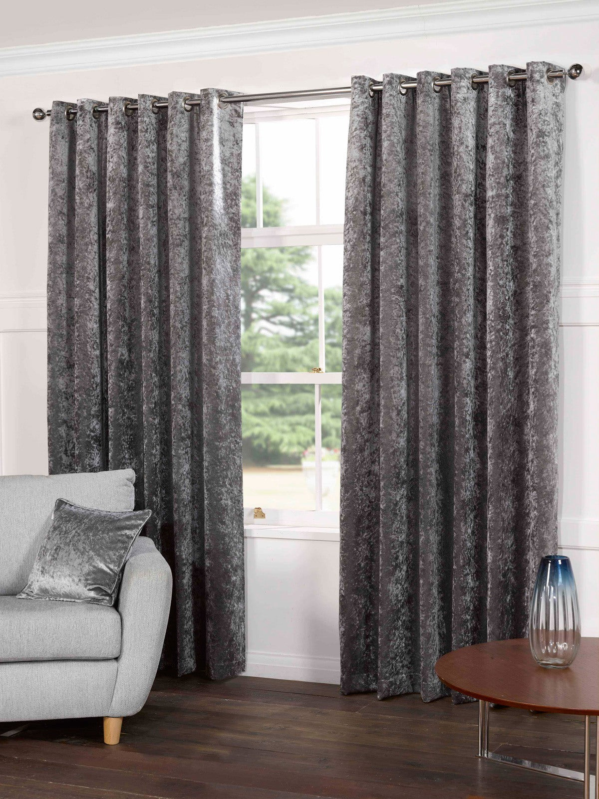 Gordon John Ready Made Curtains Plush Ready Made Lined Eyelet Curtains Steel