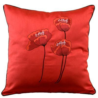 Poppies Filled Cushion 18x18 Red