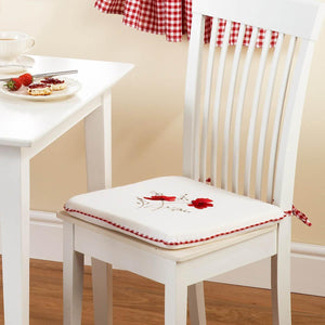 Poppies Seat Pad White/Red