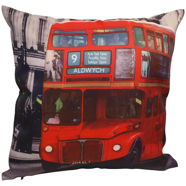 Red Bus Filled Cushion Multi