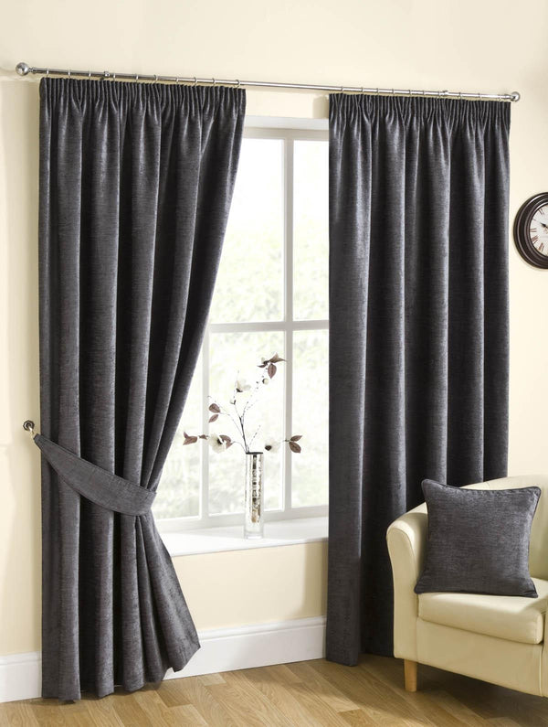 Puerto Ready Made Lined Curtains Pewter