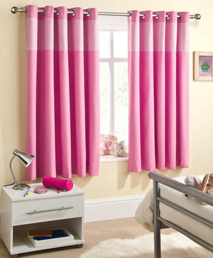 Sweetheart Blackout Eyelet Curtains Pink