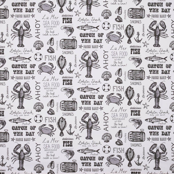 Seafood Curtain Fabric Charcoal