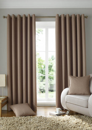 Solitaire Ready Made Eyelet Curtains Latte