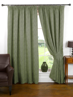 Textured Chenille Look Lined Ready Made Curtain Green