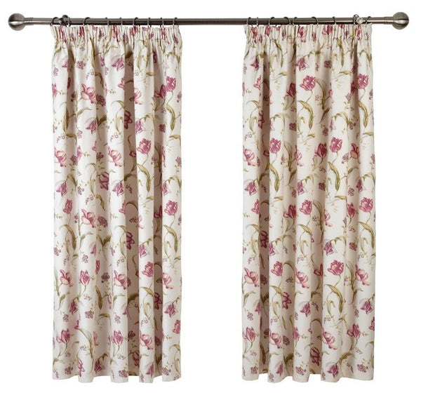 Tulipa Ready Made Lined Curtains Soft Red