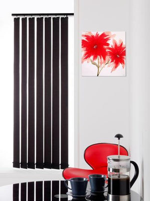 Ready Made Black Vertical Blinds 54 drop Black