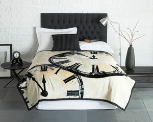 Vintage Clock Luxury Blanket Black