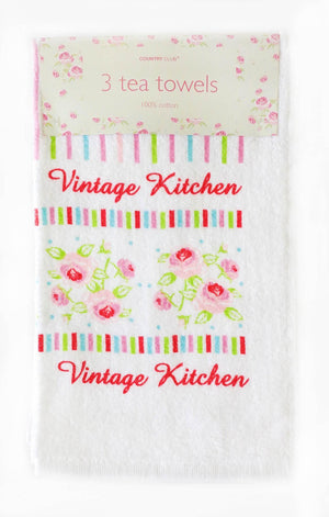3 Pack Velour Towels Vintage Kitchen White