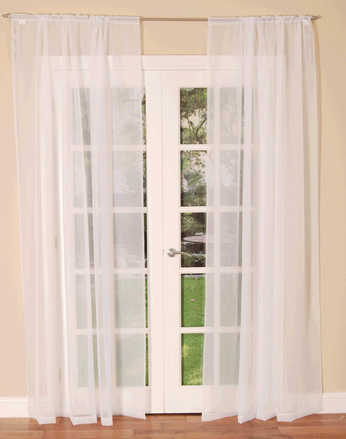 HC Ready Made Curtains Slot Top Voile Single Curtain Panel White Picture