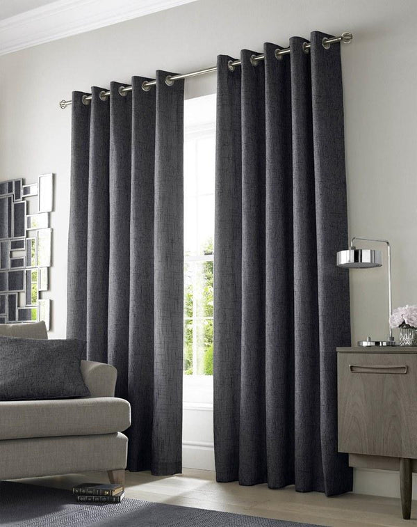 Academy Ready Made Lined Eyelet Curtains Charcoal