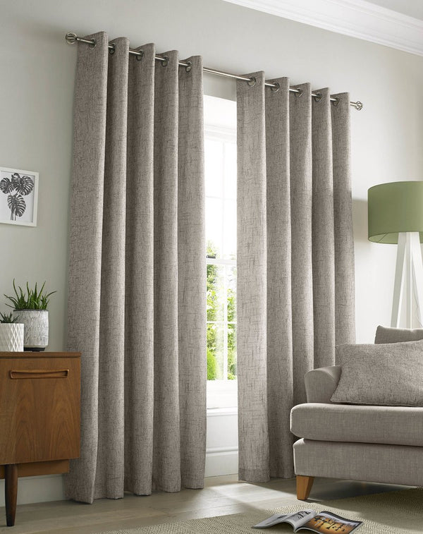 Academy Ready Made Lined Eyelet Curtains Natural