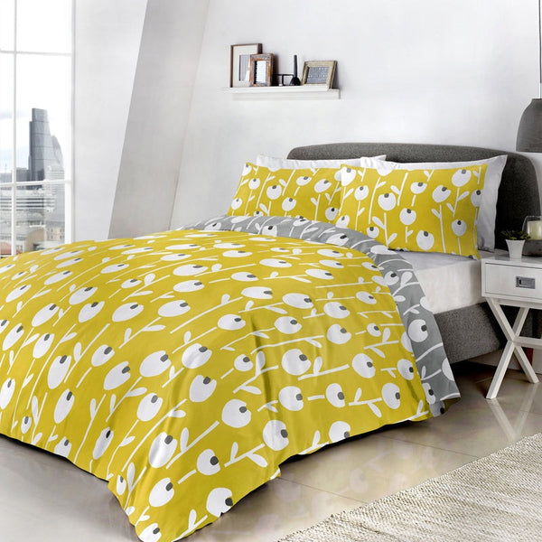 Alabar Bedding Set Ochre and Grey