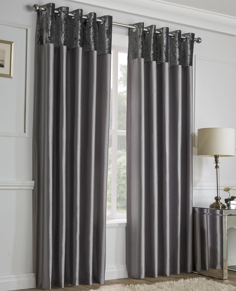 Gordon John Ready Made Curtains Alexia Crushed Velvet Top Eyelet Curtains  ... Picture