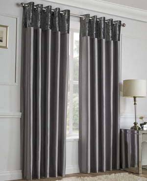Alexia Crushed Velvet Top Eyelet Curtains Silver