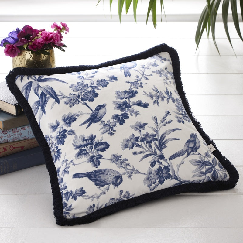 Clarke and Clarke Cushions and Throws Oasis - Amelia Filled Cushion Indigo
