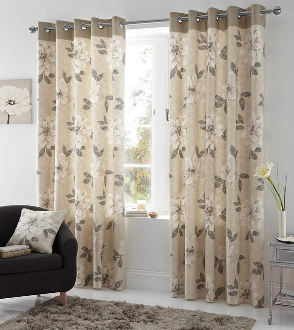 Annabella Ready Made Eyelet Curtains Natural