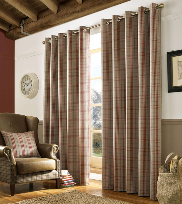 Archie Ready Made Curtain Eyelet Curtains Red
