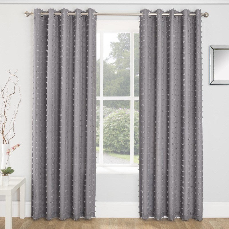 Tyrone Ready Made Curtains  Aruba Linen Look Lined Voile Eyelet Curtains Charcoal