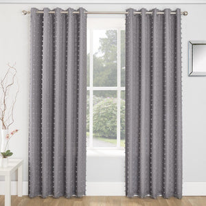 Aruba Linen Look Lined Voile Eyelet Curtains Charcoal
