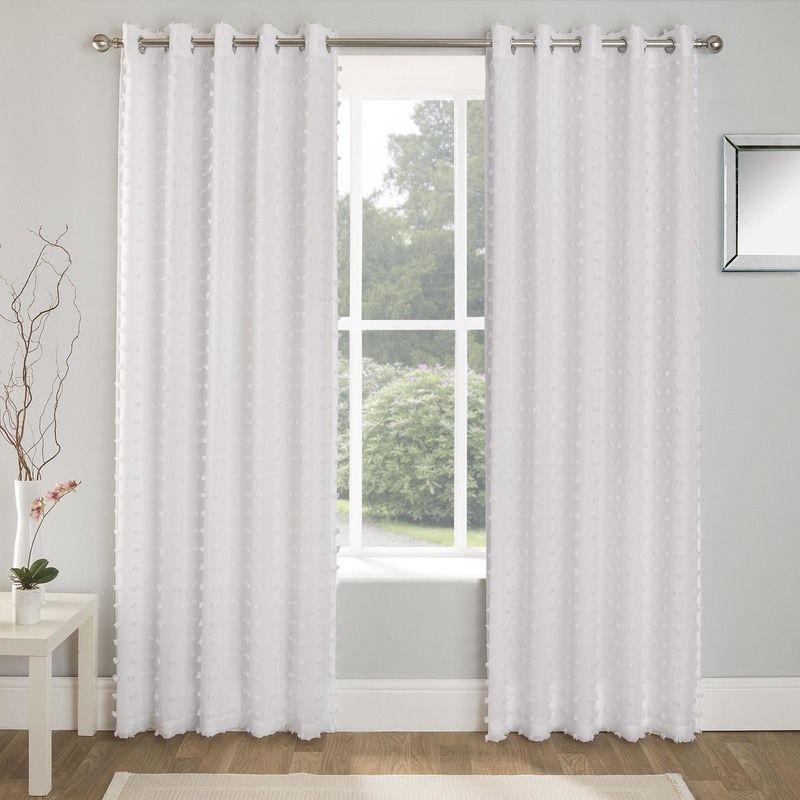 Tyrone Ready Made Curtains  Aruba Linen Look Lined Voile Eyelet Curtains White