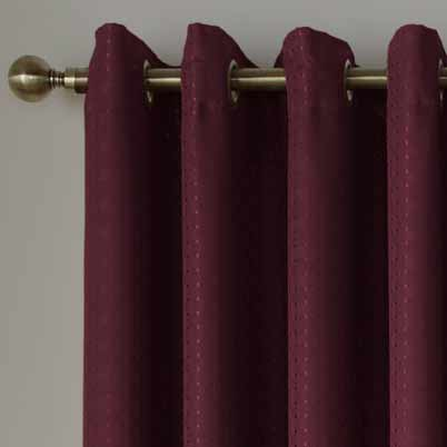 Solitaire Ready Made Eyelet Curtains Wine