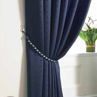 Madison Ready Made Lined Eyelet Curtains Navy