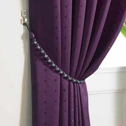 Madison Ready Made Lined Eyelet Curtains Purple